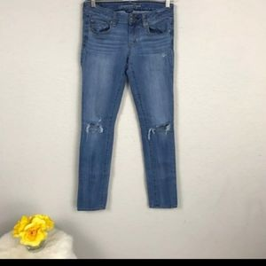 AE Jeans Pant Skinny Ripped Blue Sz 0 Regular L30